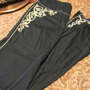 Vintage Black Tan Scroll Embroidered Pants - 8